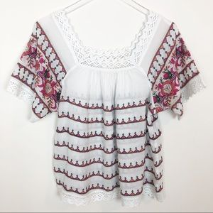 Anthropologie Maeve crocheted floral top